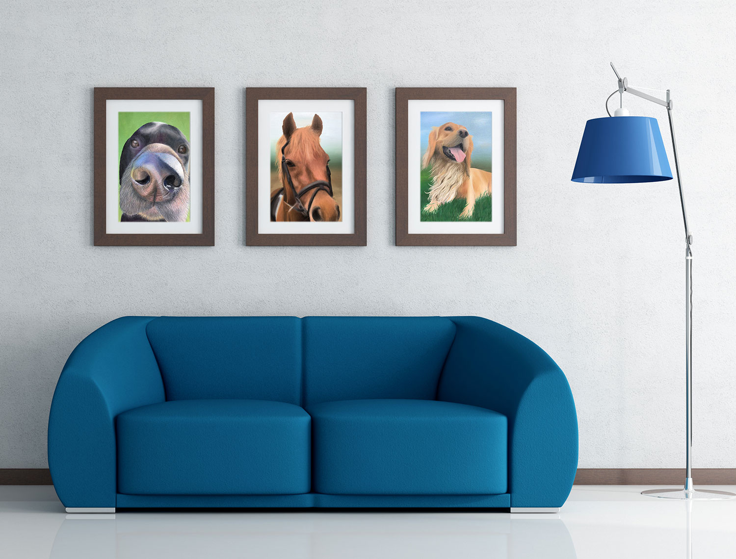 3 paintings on a wall